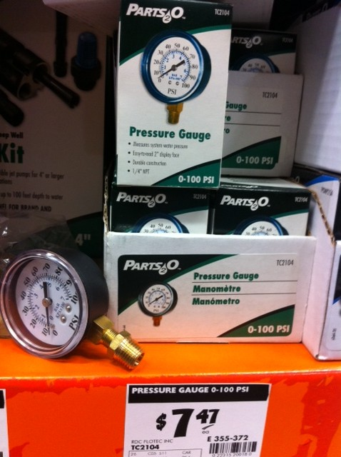 quarterinch water pressure gauge